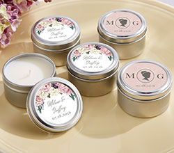 Personalized Candle Favor Tins - English Garden