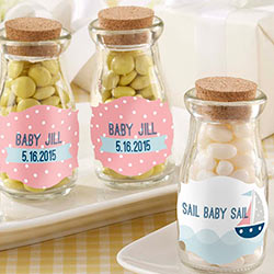 Personalized Milk Jar - Kates Nautical Baby Shower Collection (Set of 12)