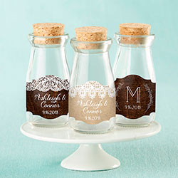 Personalized Milk Jar - Rustic Charm Wedding (Set of 12)