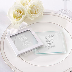 Personalized Glass Coaster – He Asked, She Said Yes (Set of 12)