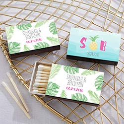 Personalized Black Matchboxes - Pineapples and Palms (Set of 50)