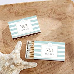 Personalized White Matchboxes - Beach (Set of 50)