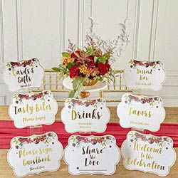 Burgundy Blush Party Decor Sign Kit with Built in Kick Stands (Set of 8)