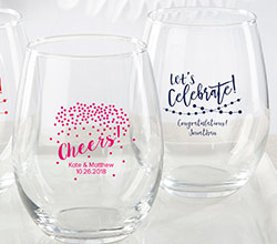Personalized 15 oz. Stemless Wine Glass - Party Time